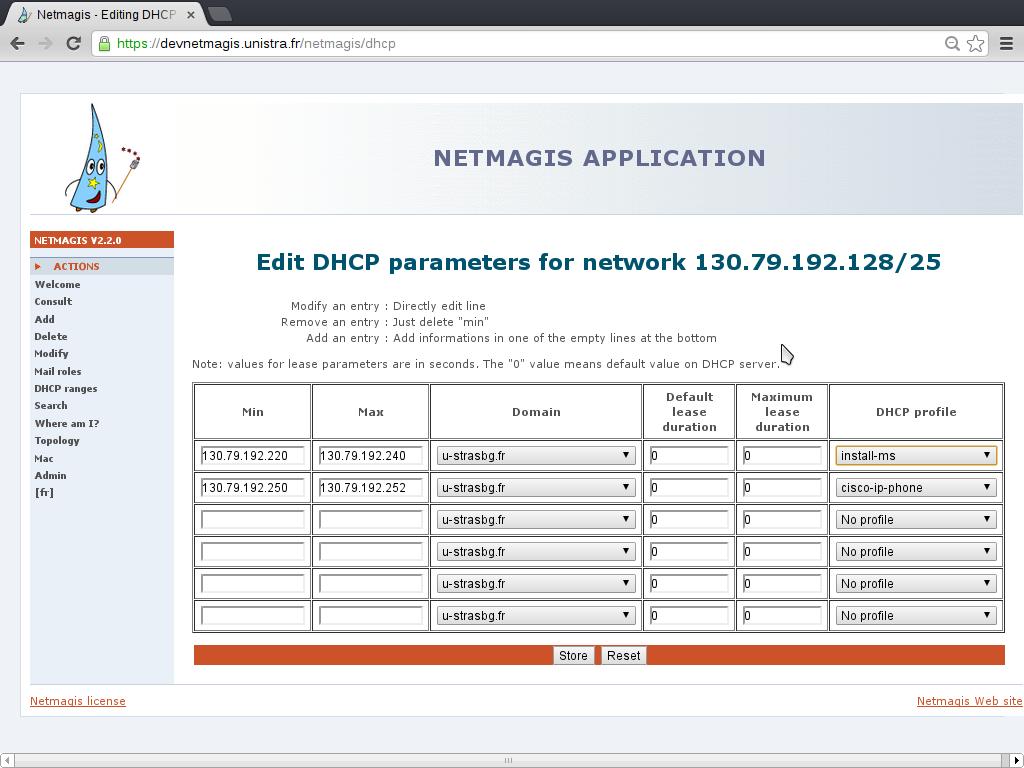 Netmagis - Screenshots